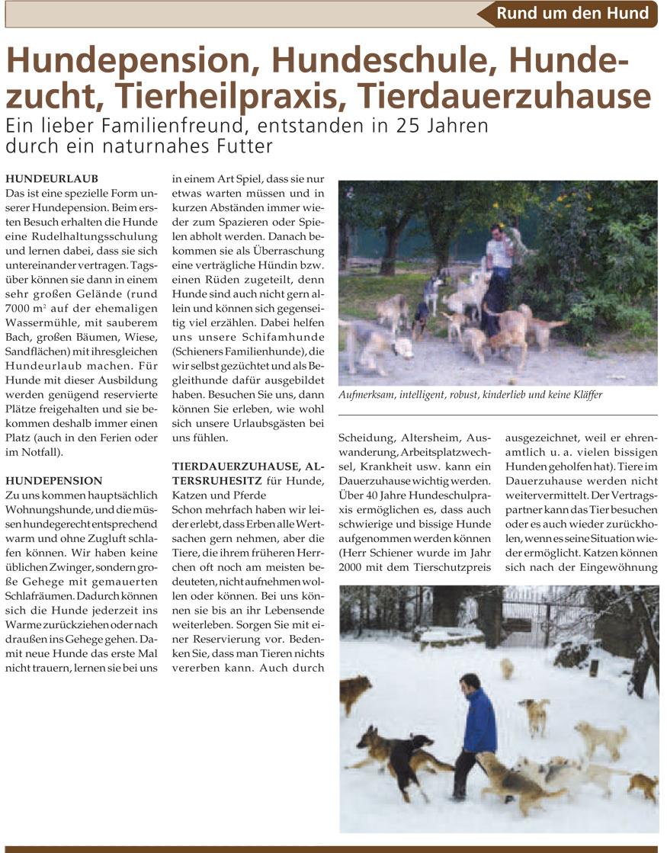 Zeitungsartiel Hundepension Neumühle Seite 1(Quelle: www.haustier-anzeiger.de)