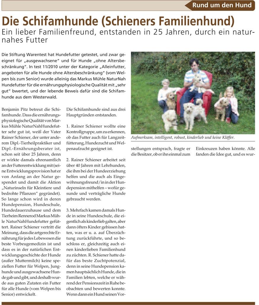 Zeitungsartiel Die Schifamhunde Seite 1 (Quelle: www.haustier-anzeiger.de)
