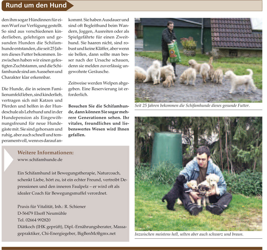 Zeitungsartiel Die Schifamhunde Seite 2 (Quelle: www.haustier-anzeiger.de)