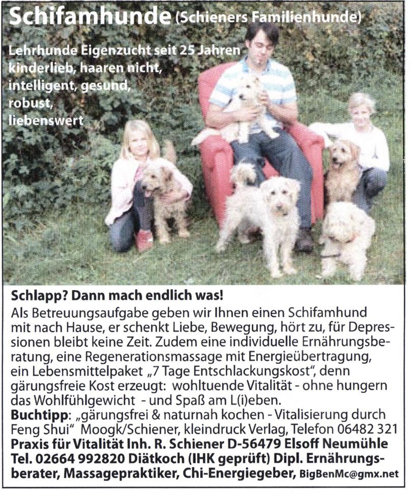 Zeitungsartiel Schifamhunde