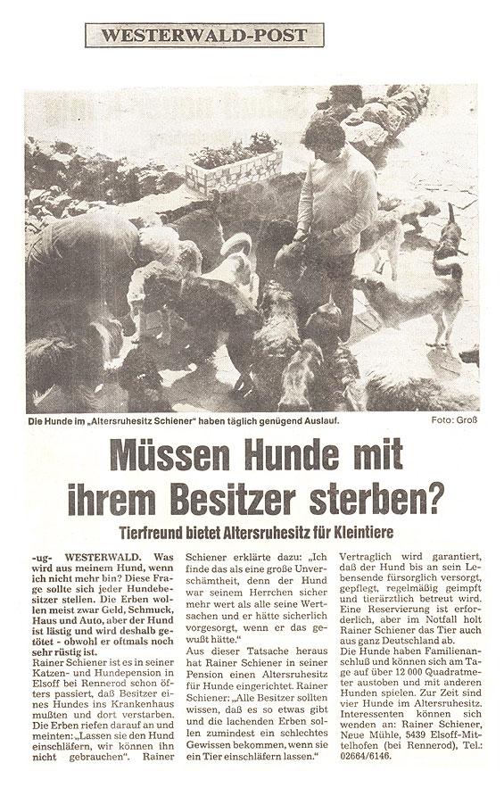 Zeitungsartikel - Müssen Hunde mit ihrem Besitzer sterben (Westerwald-Post)